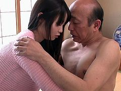 This shy Japanese young slut has an older partner, who could be her father. But she doesn't care, as long as he makes her horny and gives her thrilling pleasures. Click to watch the old guy trying to undress naughty Aika to touch her lovely boobs, while she lays on the floor, totally helpless.
