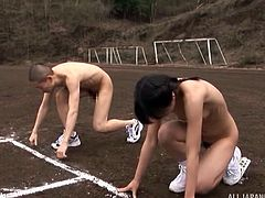 This weird Japanese couple head outdoors for a kinky nude race. If she can be caught, she will be fucked so hard. She runs fast, but soon she is having her ass cheeks spread and being deeply fingered by her man.