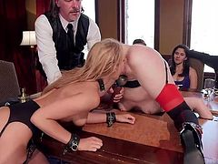 Slutty Addison is persuaded to rim a lovely ass and then, to suck a horny man's yummy cock. Click to watch the blonde-haired lady on high heels, leaning on the table, to get pounded hard from behind.