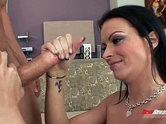 Sexy black haired mommy Bailey Brooks pleases horny stud with stout BJ