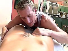 Gorgeous naked woman Nicole Aniston with big fake boobs and bushy pussy shows it all to masseur and then wraps her hot lips around his rock hard cock. Big titted bombshell sucks like a pro!