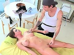 Naked porn star Rachel Roxxx gets her big melons and meaty trimmed pussy massaged by a curious guy before he pulls out his love torpedo to bang her good and hard. Shes so hot!