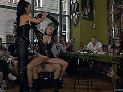A dominating bitchy milf, Liza, assures that slutty Lola will act like an obedient doll, while she tries to humiliate her in every dirty way possible. See the tattooed lady with green-dyed hair terribly mouth fucked, and then pounded hard.