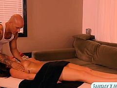 Cute client gives blowjobs and facialed by her masseur