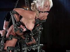 This kinky hard metal machinery with a complicated, but efficient design, seems especially created for slutty milfs, such as horny Holly Heart... Click to watch the busty blonde-haired bitch wearing a ball gag, while being awfully restrained. Her shaved pussy is already on fire, so don't miss the details!