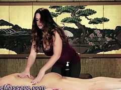 Busty masseuse eaten out