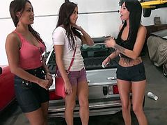These dirty sluts can't pay for their tune up on the car, but they will get naughty for some money. The sluts rub their tits together and soon, they are doing some really naughty stuff. The are horny lesbians and one eats out the other's pussy.