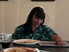 These naughty bitches are at home, relaxing and enjoying a nice breakfast together. Chastity gets under the table and eats out her girlfriend's wet pussy. Dana moans and squirms, as she receives amazing cunilingus.