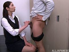 They take a break from making the new business report, to have a little bit of fun in the office. Hina looks cute in her work clothes and soon, she is playing with his stiff cock. Will she make him ejaculate right in the office locker room?