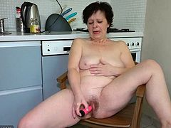 This granny still feels the need for penetration, but being all alone, she has no one but her little pink vibrator to help make this happen. She doesn't worry, but gets to work pleasuring herself in the kitchen. She still has some flexibility in her old body, as you can see. Subscribe now for more!