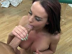 Pretty straight haired brunette girlie takes long sloppy cock in her twat