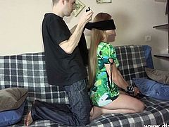 Slutty Amanda gets tricked by her horny partner to play a different game, involving the presence of his companion, too. The friendly bitch gets first blindfolded and fucked hard from behind. She must have appreciated the surprise, as she gladly sucks cock and spreads legs widely!