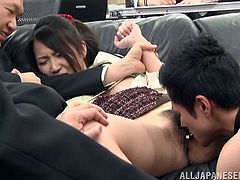 A pretty Japanese bitch working in the office, has the privilege to entertain her horny boss, while all her colleagues are present... Click to watch the hot brunette lady persuaded to spread her legs and show her tight cunt, as her clothes are brutally removed. Enjoy the sexy details.