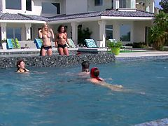 Some uninhibited couples, like Kimberly and Michael, are totally open to exchange partners... Click to see a naughty group having fun outdoor, swimming, sun tanning and getting naked without shame! Watch some naughty milfs playing dirty.