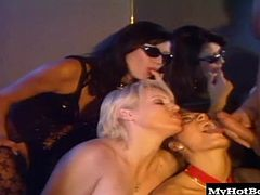 Ursula and the other sexdriven hotties groan in unison as each gets a face, snatch or ass reamed with hard dick in the packed bar. The mature blonde MILF perches with feet atop a naked studs knees to bounce and grind on his rockhard knob. A brunette Babe in white lace stockings gets her ass plowed while Ursula and three slut pals fight to get their mouths sprayed full of dripping cum.