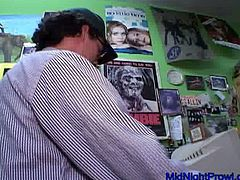 Wanton brunette filth Angie gives solid BJ to kinky stud in the shop