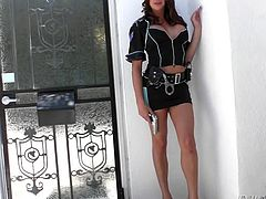 This busty shemale cop has tits so big, that they are busting out of her shirt. She has a huge erection and the beautiful woman rubs her gun all over her hard penis, before she whacks off outside like a kinky girl.