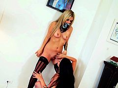 This blonde slut and her sexy brunette companion are the perfect pair! Click to see the horny lesbians getting dirty. The busty latina seduce lusty Madelyn with an ardent kiss, and then continues to suck her nipple. See the blonde babe taking off her kinky bikini...