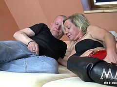 Mature blonde gets her pussy licked and fingered before getting on top and riding it hard.