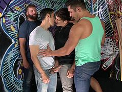 These horny studs have been waiting all day, to meet and gather for a crazy gay orgy. Click to watch the five of them undressing. They get closer and that turns them on in a wild way. See the muscular boys rimming ass and sucking cock with a passionate desire. Don't miss the juicy details!