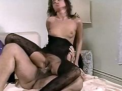 Delightful brunette in body stocking fucks lucky man