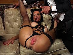 Slutty Veronica receives a rough punishement. The angry gang of horny man treat her in a dirty manner. The harsh treatment include an inciting mouth fuck. Watch the brunette busty milf licking a guy's shoe, while her naughty nipples are pinched with a kinky device. Enjoy the brutal fantasy...