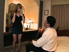 Pretty Japanese secretary fucks her boss for job promotion
