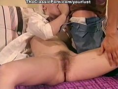 Pretty though too pale blond haired babe goes nuts about riding dick