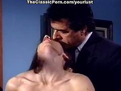 Sexy long haired classy black head plays with titties and sucks lollicock
