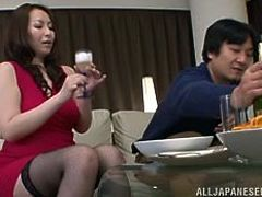 Chubby milf Aoi was relaxing and enjoying refreshments and snacks with her husband in the dining room. After entertaining, the couple got so horny. Aoi quickly stripped naked, to reveal her glorious natural tits. She has cock slapped against her lips and it looks like she is ready to make her man cum.