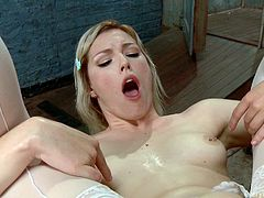 A naughty lesbian mistress, wearing a molded latex red dress, is preoccupied to turn on slutty Ella, an obedient lovely bitch with small tits. Click to watch the dominant lady, stuffing a big anal dildo in the blonde's appetizing ass.