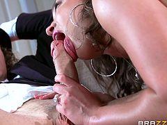 A horny desperate wife takes off her clothes with lascivious motions, while her persuasive partner explains her, that he wants to take kinky pictures of her incredibly sexy body. Click to watch the lustful milf sucking dick and riding it on the couch...
