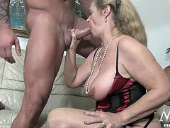 There´s nothing quite like an experienced woman. Add some huge tits and a big appetite for hard cock to that and you have yourself the perfect cougar. After a small talk with her, we knew who we needed to bring in, and sure enough, this guy seems to enjoy making her moan and scream. What a show!