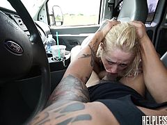A naive teen got picked up by a horny driver, who longs to fuck a tight cunt, like Goldie's. Click to watch the blonde bitch naked and with hands tied strongly. The dominating man persuades her to suck his cock, stuffing it down her throat with spontaneous movements. See the bitch banged hard from behind!