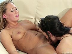 A blonde-haired naked babe easily falls for a slutty brunette milf with big wonderful boobs. The seducing lady, wearing a kinky belly piercing, knows exactly how to help naughty Carter relax. Enjoy the inciting pussy eating scene!