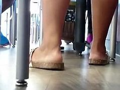 Candid Ebony Feet in Cafeteria 5