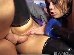 Latex ladies double team his dick and both try anal fucking