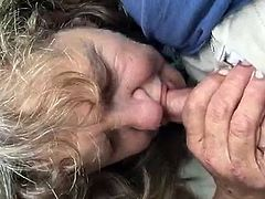 Granny blowjob in the street
