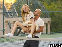 Aubrey loves her tennis lessons, purely because she fantasises about fucking her sexy tennis coach. Today her parents are not at home, and it is the perfect time to tell him exactly how she feels. She has not been wearing panties for her lessons to try and get his attention and now he can not resist her any longer. She sucks his cock right there on the tennis court, and before she knows it, he is taking her hard from behind across the net! Once inside, he licks her sweet pussy, before putting his tongue and fingers in her tight little asshole. He fucks her wet pussy again, making her squirt. T