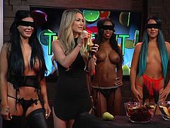 Topless ladies cheer up the atmosphere at a kinky reality show. Do yourself a favor and start the morning watching the attractive sluts challenged to eat fruits like apples or bananas, while blindfolded, in front if the friendly cameras. Sexy Melissa will charm you with her provocative attitude!