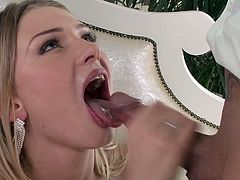 Visit official DP Fanatics's HomepageBlonde bimbo gets shared by two lads and pumped in both her shaved holes during a ravishing hardcore threesome anal experience on the couch