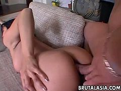 Sex goddess Mika Tan in arousing doggy style anal sex scene