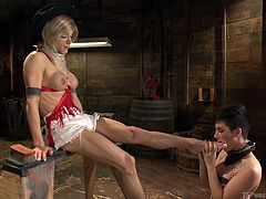 The hot shemale Nina, sticks her foot out and makes her hot female slave caress it, and lick it. After sucking on soles and toes, she is ready to take a juicy tranny cock in her pretty mouth She uses her tongue skillfully, to bring pleasure to her mistress.