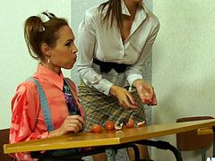 After class three hot teachers have erotic food play