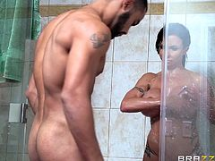 brunette busty doll fucked in shower