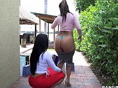 Diamond and Spicy are two mature and slutty ladies with really big asses. But they don't need men to appreciate it. They can enjoy their asses even when they are alone. Watch them grope each others tattooed asses, as they strut all over the house in pretty much nothing. These girls have the body to die for!