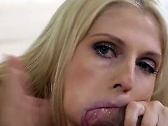 Gorgeous blonde gives an energetic blowjob