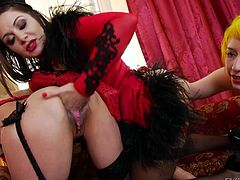 Slutty lesbians wearing red and black sexy lingerie begin to play dirty games, which involve fisting ass, and using kinky sex toys... Watch the naughty brunette wearing a strap on, while the blonde-haired bitch rides it and lusty Paige, fingers her appetizing pussy with a lascivious desire.