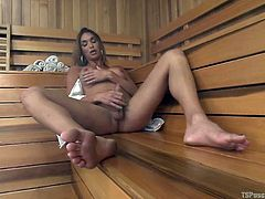 A busty lady joins a horny shemale in the sauna. Seeing sexy Jonelle masturbating, makes the naughty lady really excited. Their nude perfect bodies are also a huge turn on... Click to watch tattooed Bella Rossi, approaching with sensual steps and sucking cock with a flaming desire.