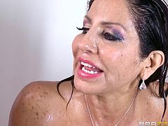 If you are fond of lusty milfs, click to see Tara, soaping her wonderful big tits under the shower... See the naked brunette with hair still wet, going straight to bedroom, where her horny partner waits her impatiently, to play with her voluptuous boobs.